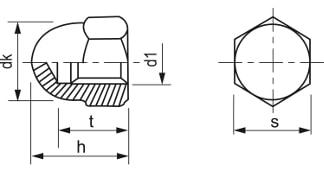 Uzavretá klobúková matica DIN 1587