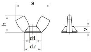 krídlové matice DIN 315 rozmery