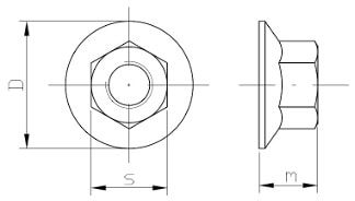 matica s prírubou a ozubením DIN 6923 rozmery