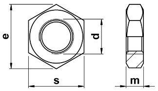 nízka matica DIN 439B rozmery