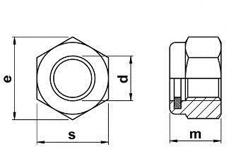 samozaisťovacie matice DIN 985 rozmery