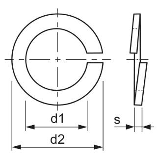 Pružná podložka DIN 7980 úzka rozmery