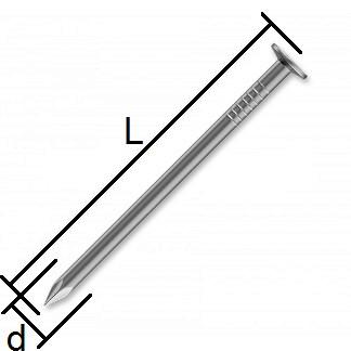 stavebné klince rozmery