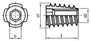 závrtná matica bez límca - typ E rozmery